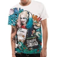 Suicide Squad Harley Quinn Graffiti T-Shirt, Medium