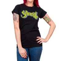 Ghost Green On Grey Logo Fitted T-Shirt, Medium