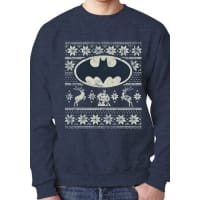Batman Logo Fair Isle Christmas Sweatshirt, Medium