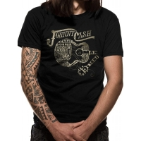 Johnny Cash Guitar Text T-Shirt, Medium