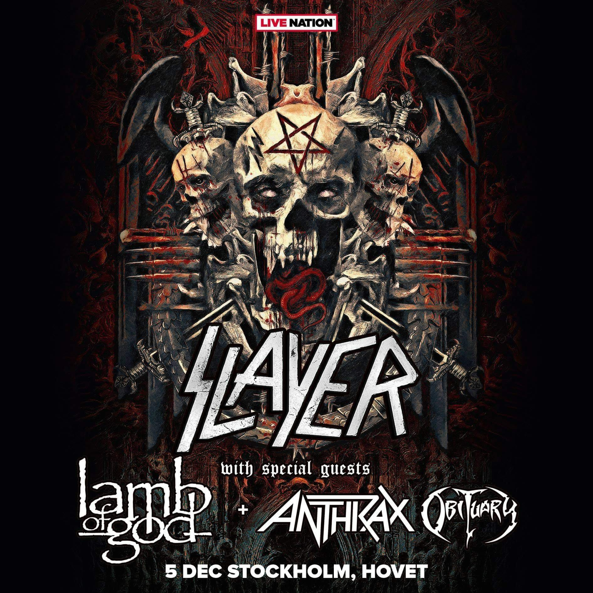 Slayer + Lamb of God + Anthrax m.fl.